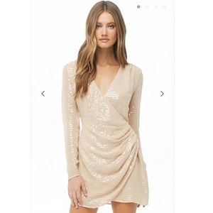 Forever 21 Sequin Gauze Woven Surplice Dress